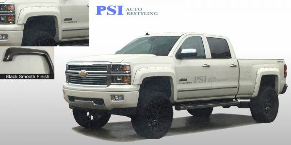 PSI - 2014 Chevrolet Silverado 1500 Pocket Rivet Style Smooth Fender Flares
