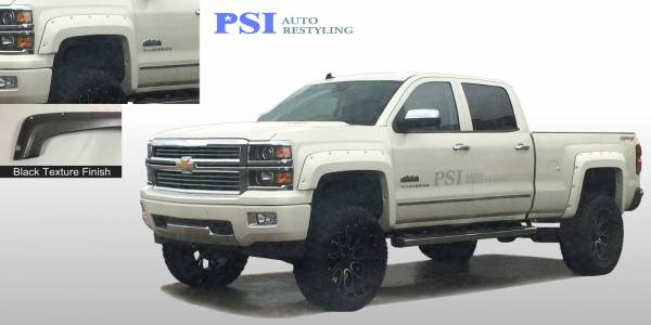 PSI - 2014 Chevrolet Silverado 1500 Pocket Rivet Style Textured Fender Flares
