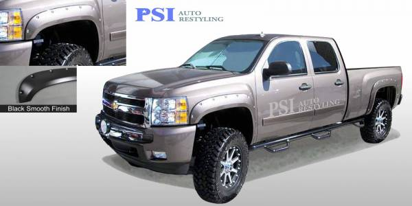 PSI - 2014 Chevrolet Silverado 3500 Pocket Rivet Style Smooth Fender Flares