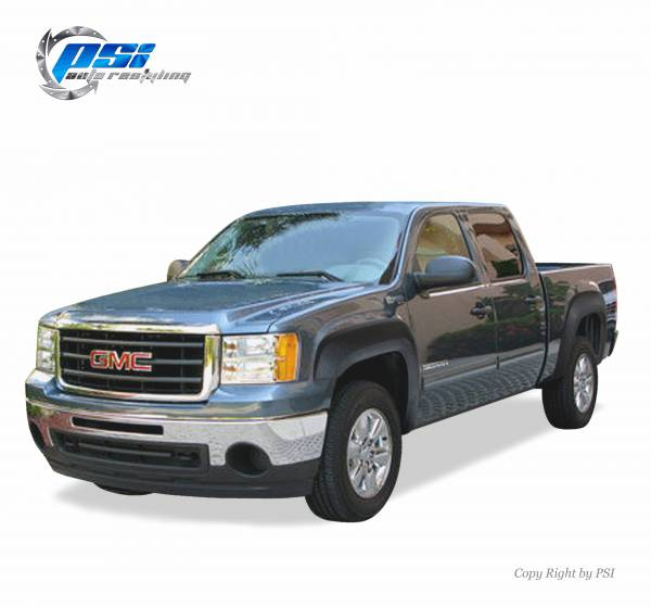 PSI - 2007-2013 GMC Sierra 1500 OEM Style Black Sand Blast Textured Fender Flares; ONLY For Short Bed 69.3""