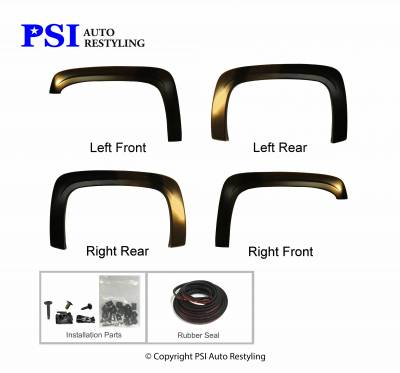 PSI - 2012 Chevrolet Silverado 2500 OEM Style Smooth Fender Flares - Image 3
