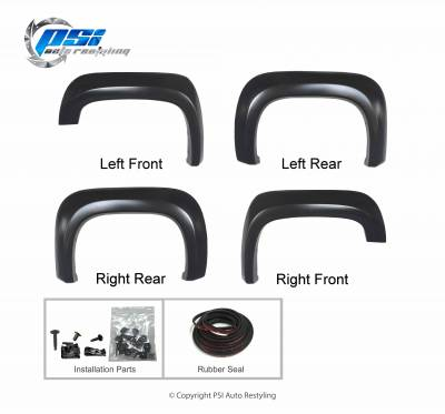 PSI - 2013 GMC Sierra 1500 Extension Style Smooth Fender Flares - Image 3